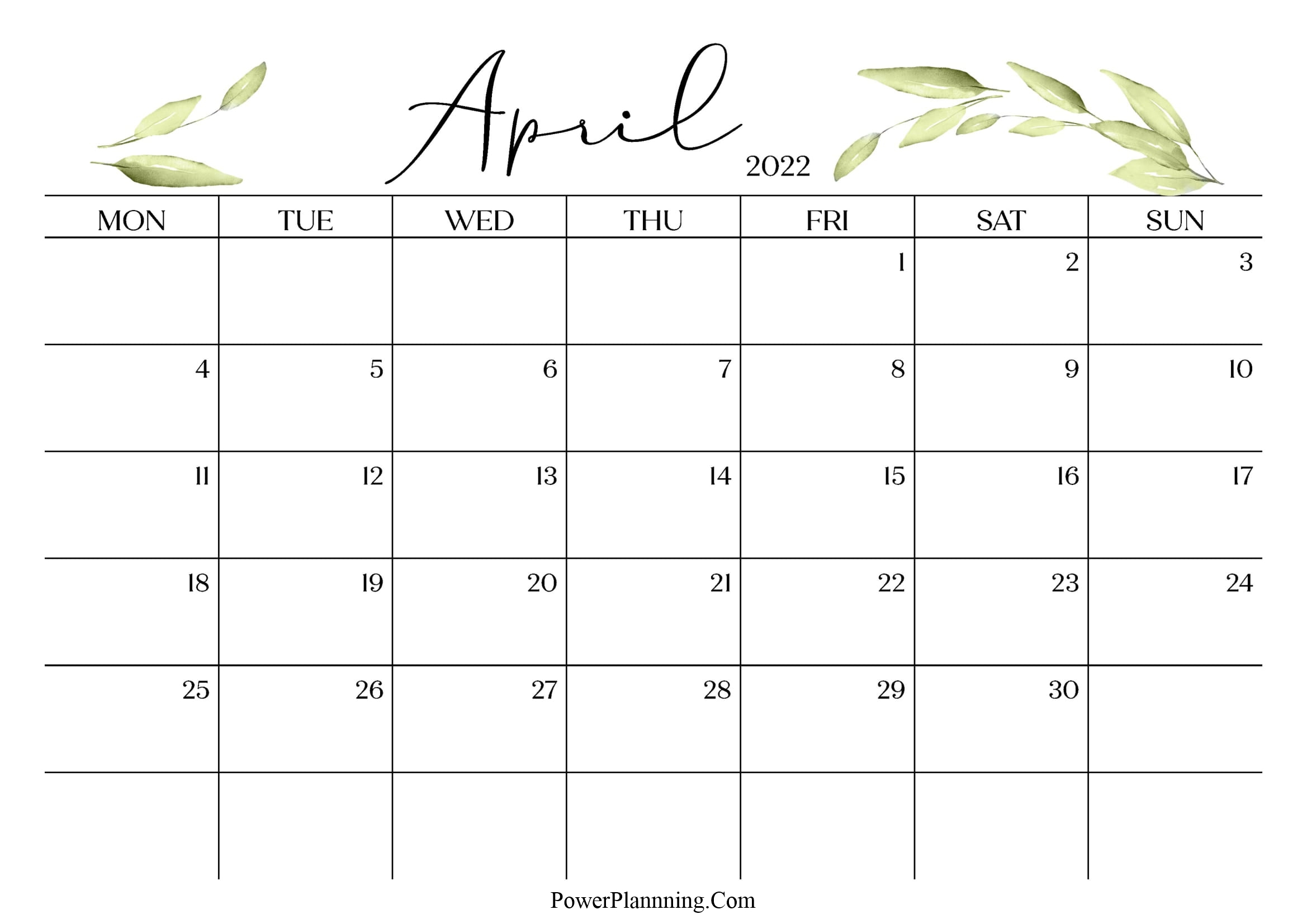 April 2022 Cute Calendar