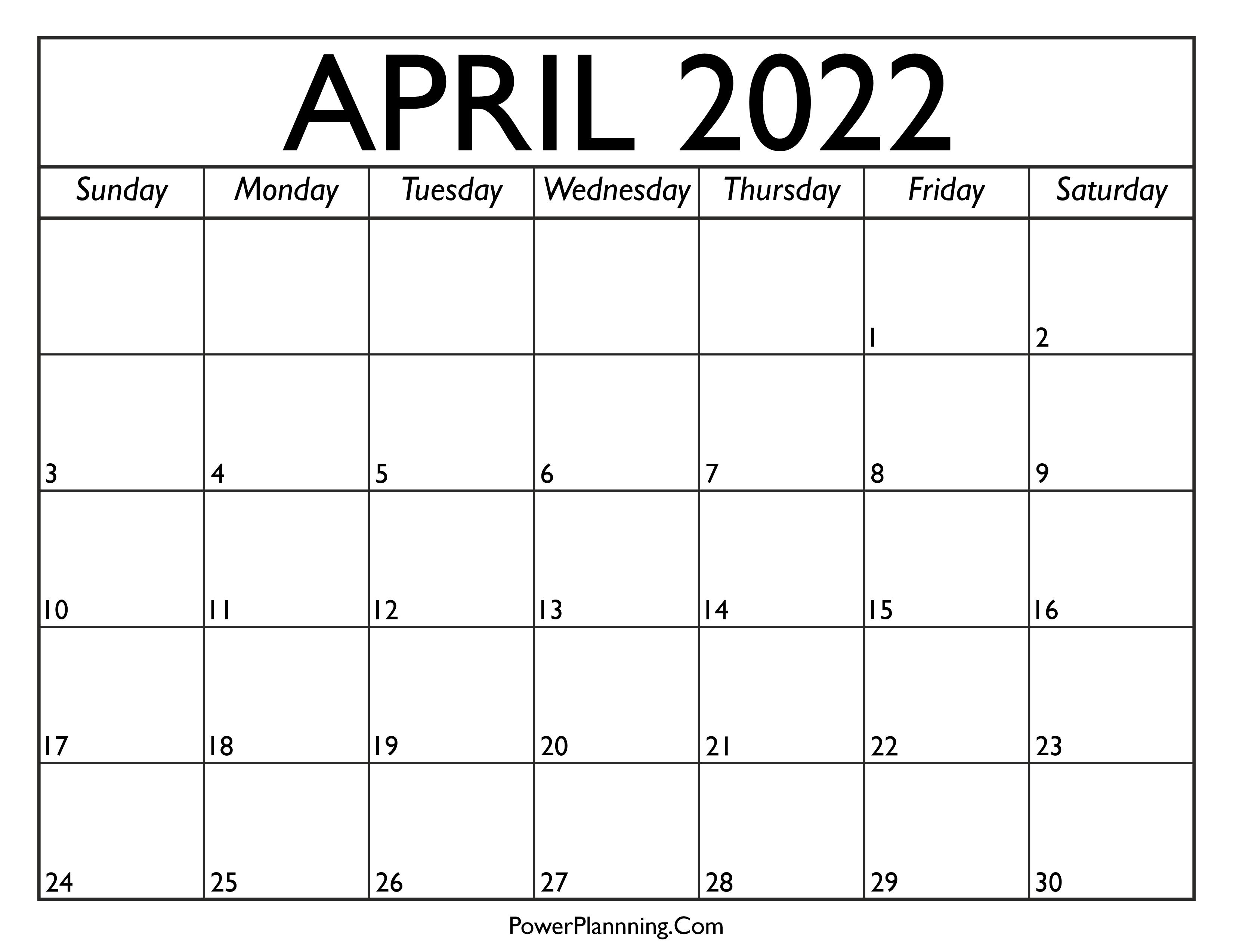 Calendar for April 2022