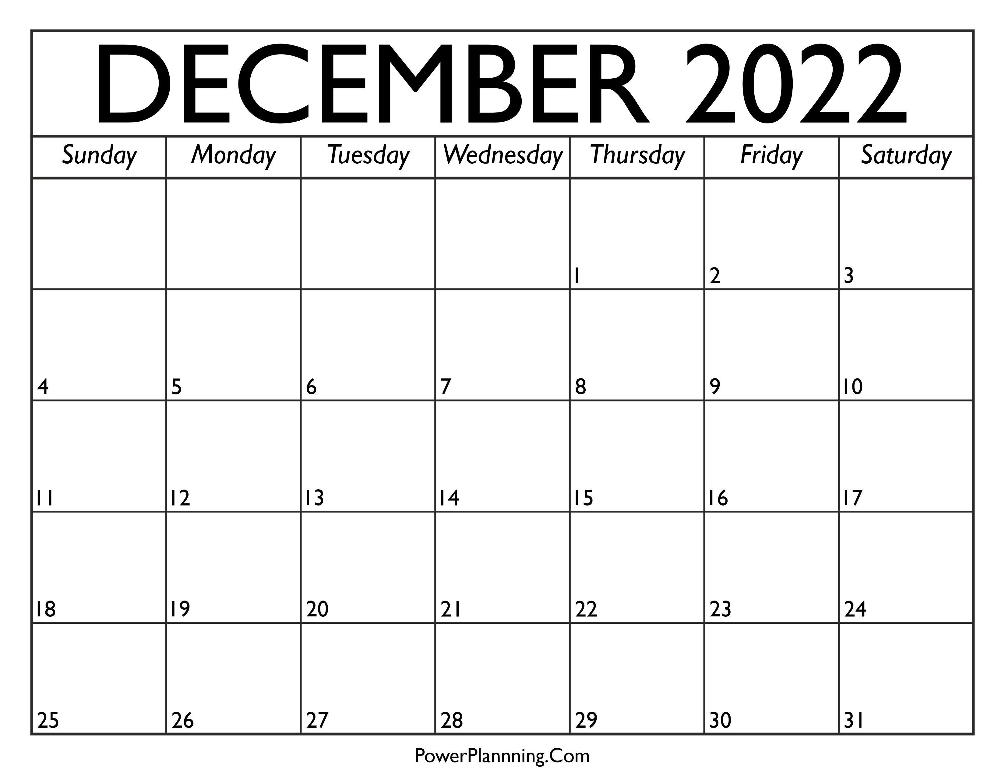 Calendar for December 2022