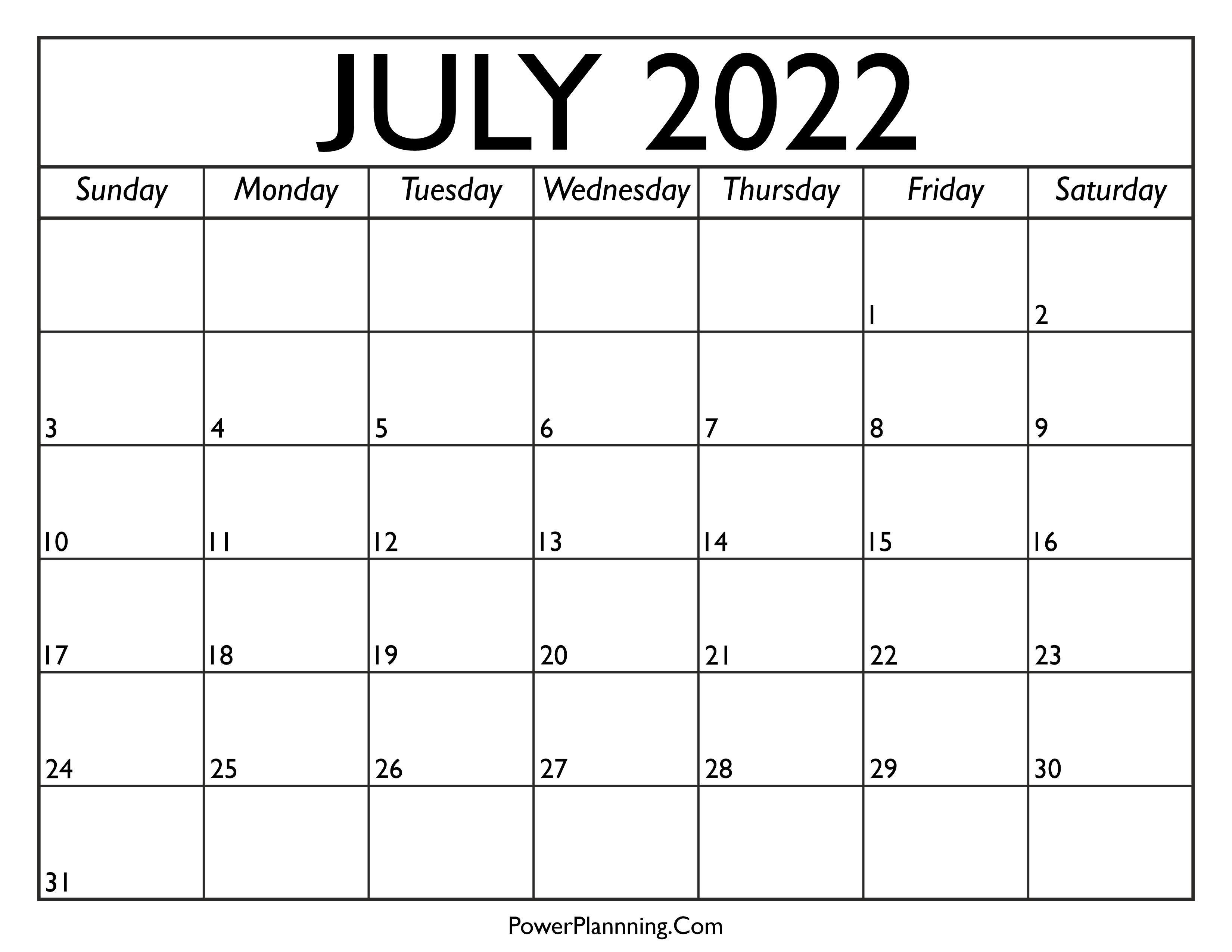 Calendar for July 2022