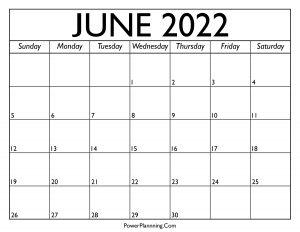 Calendar for June 2022