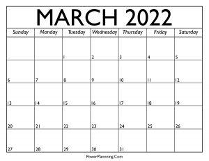 Calendar for March 2022