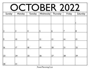 Calendar for October 2022