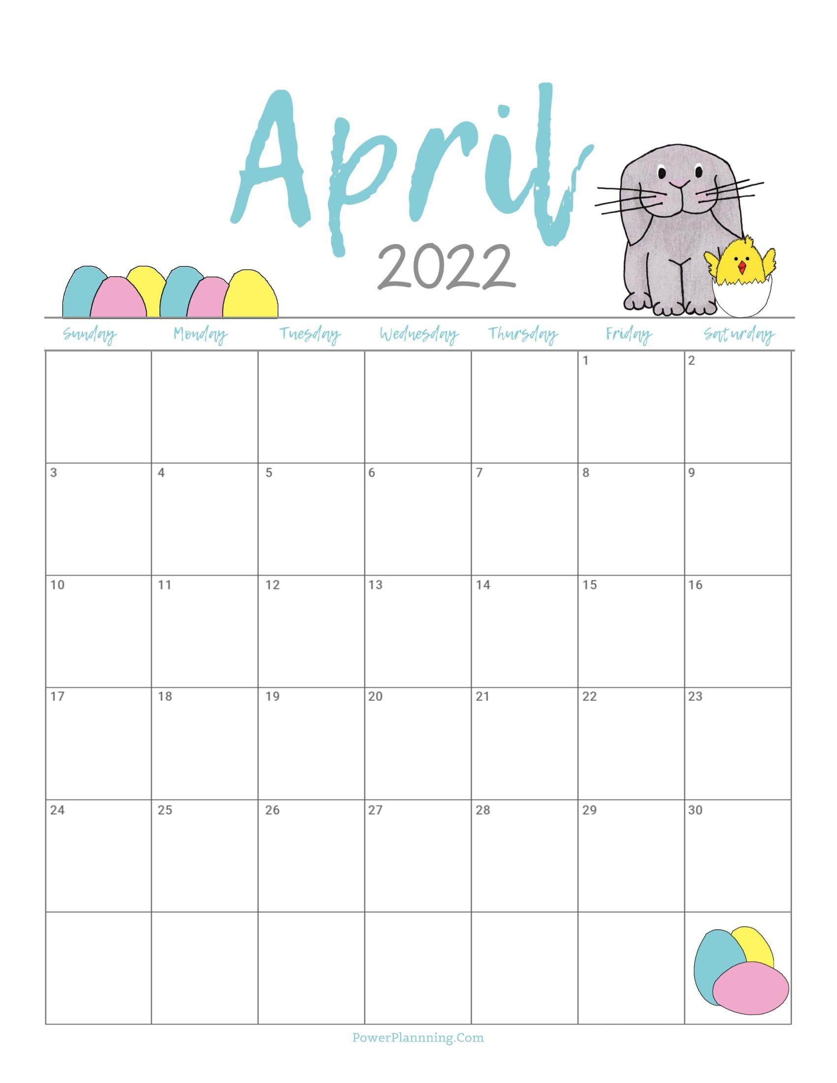 Cute April 2022 Calendar