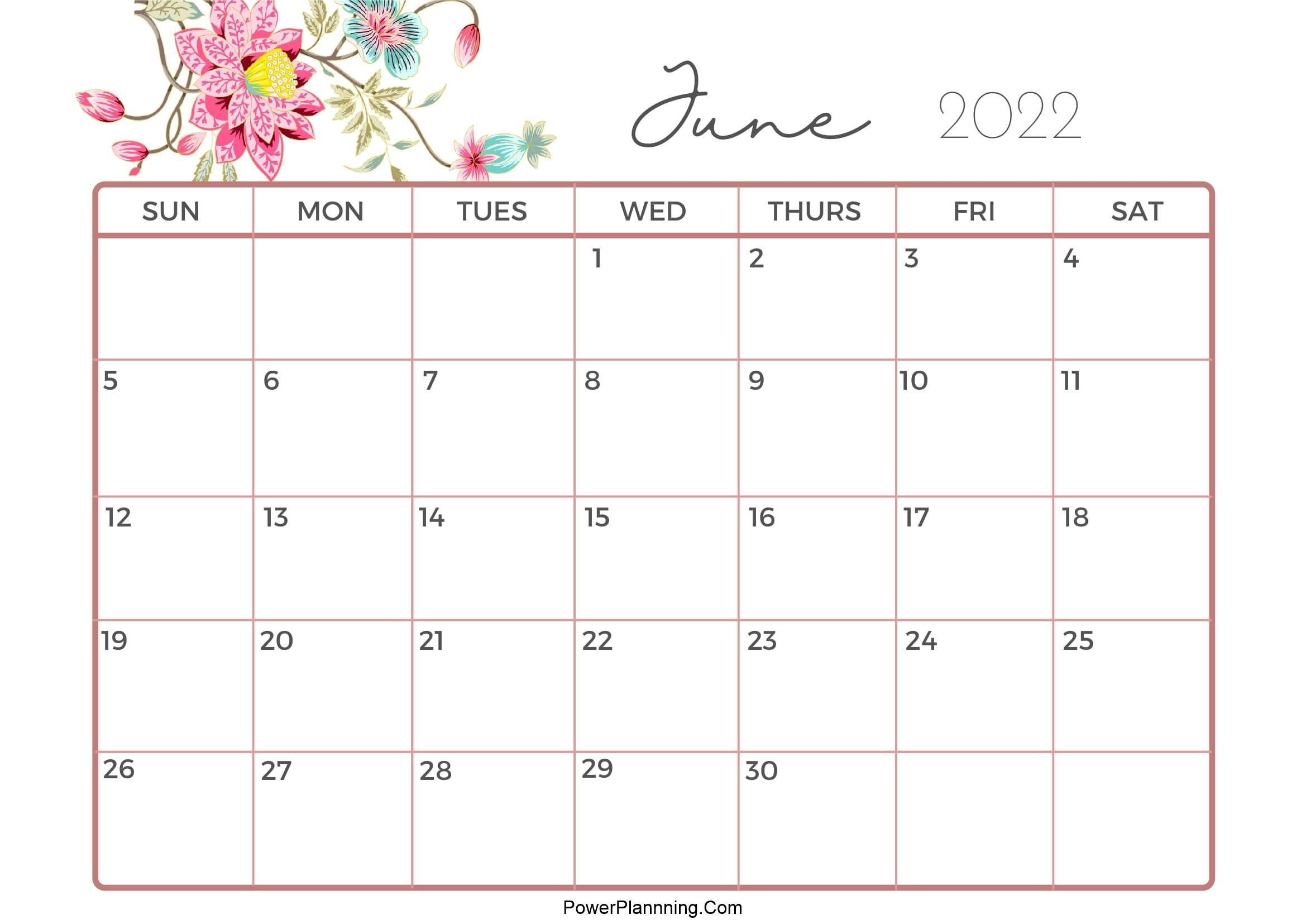 Cute Calendar June 2022