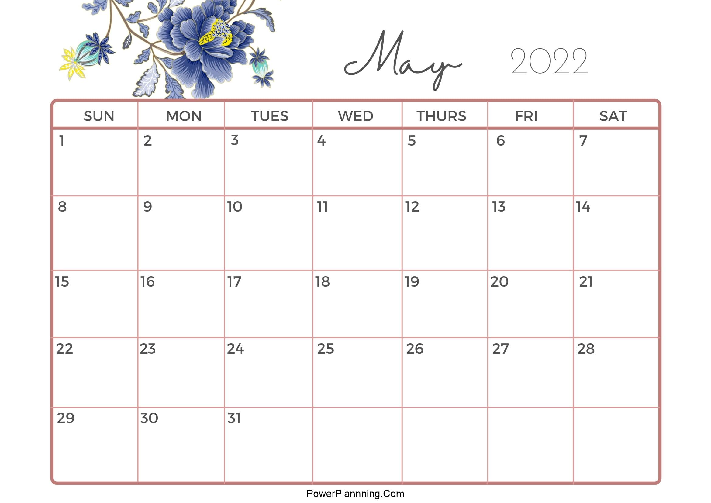 Cute Calendar May 2022