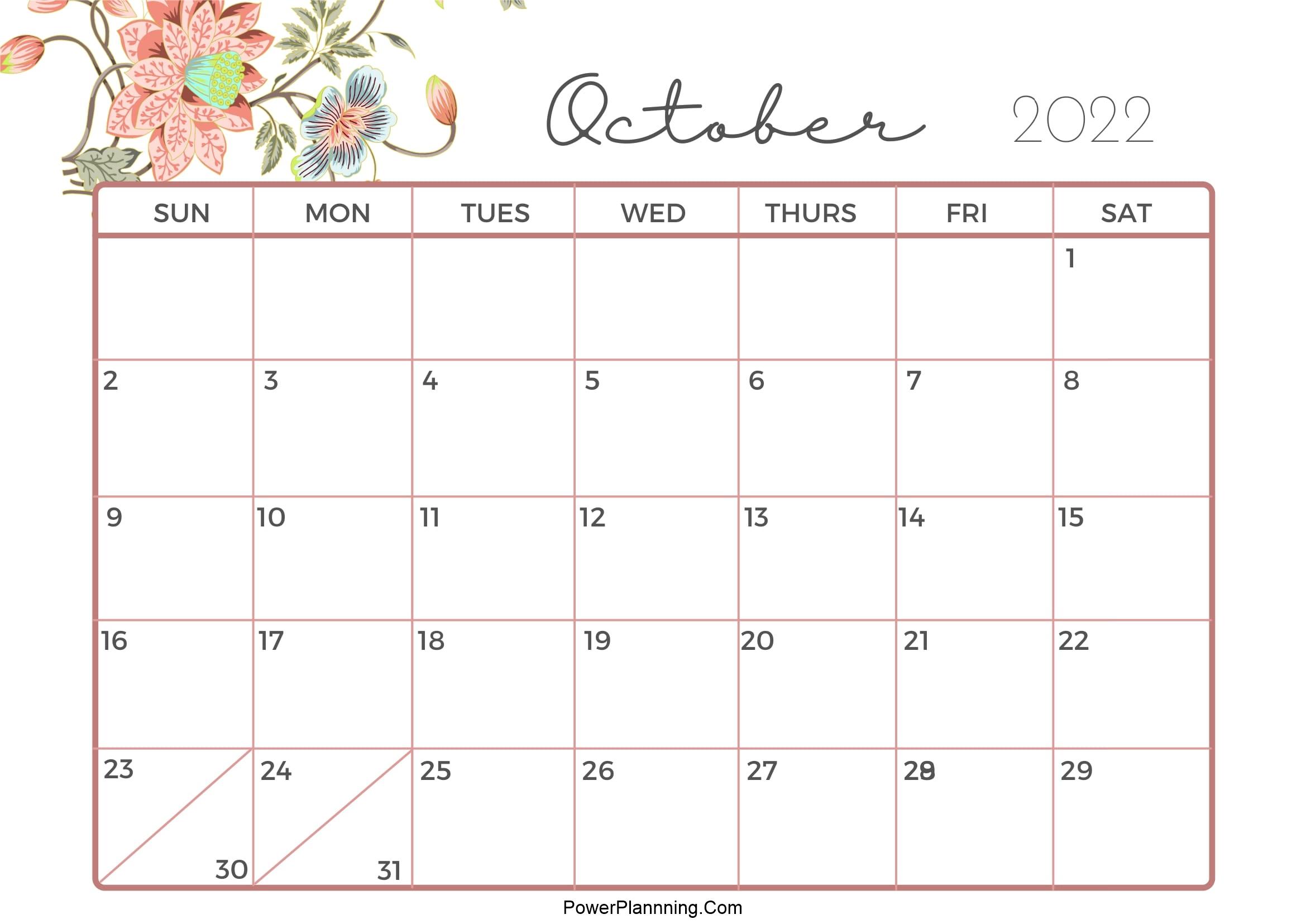 Cute Calendar October 2022