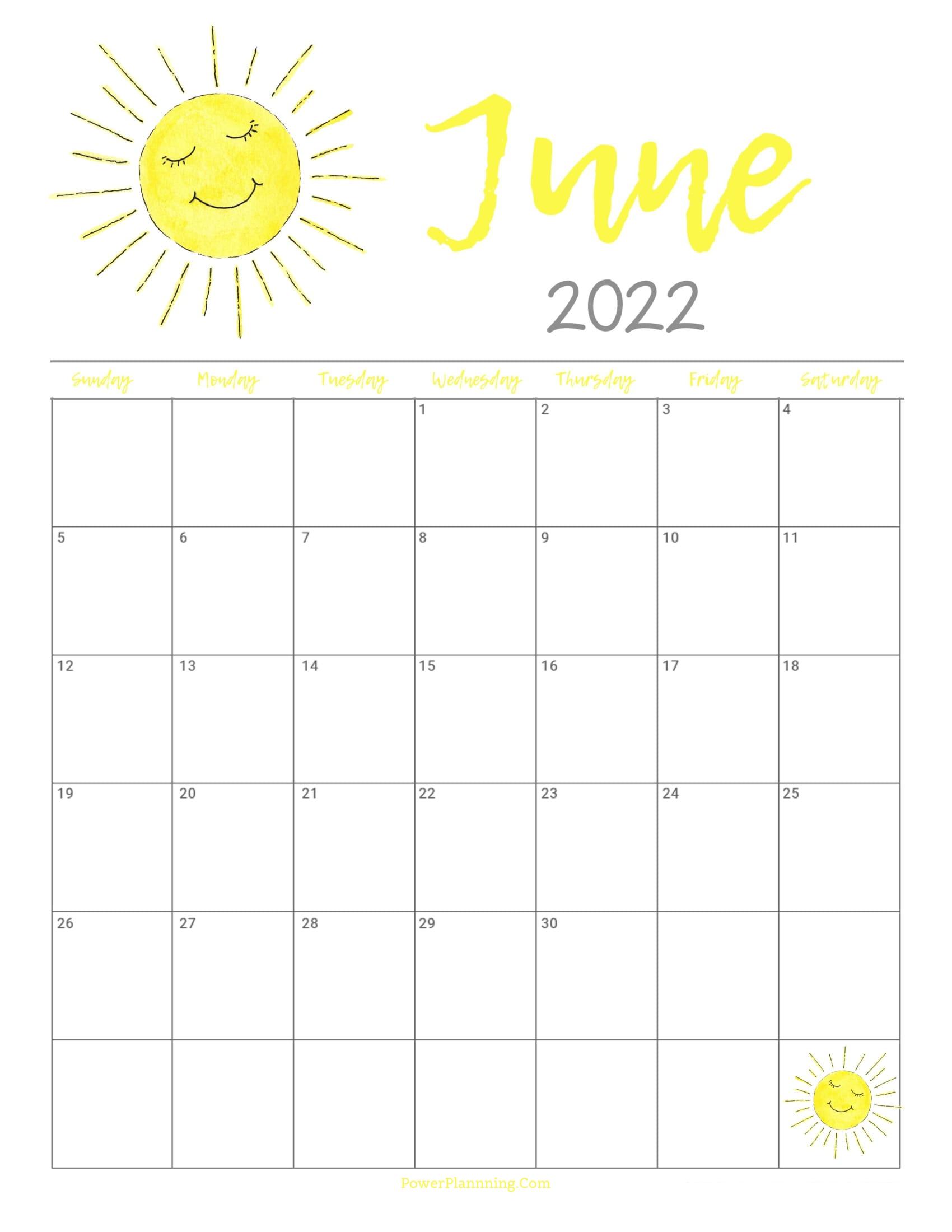 Cute June 2022 Calendar