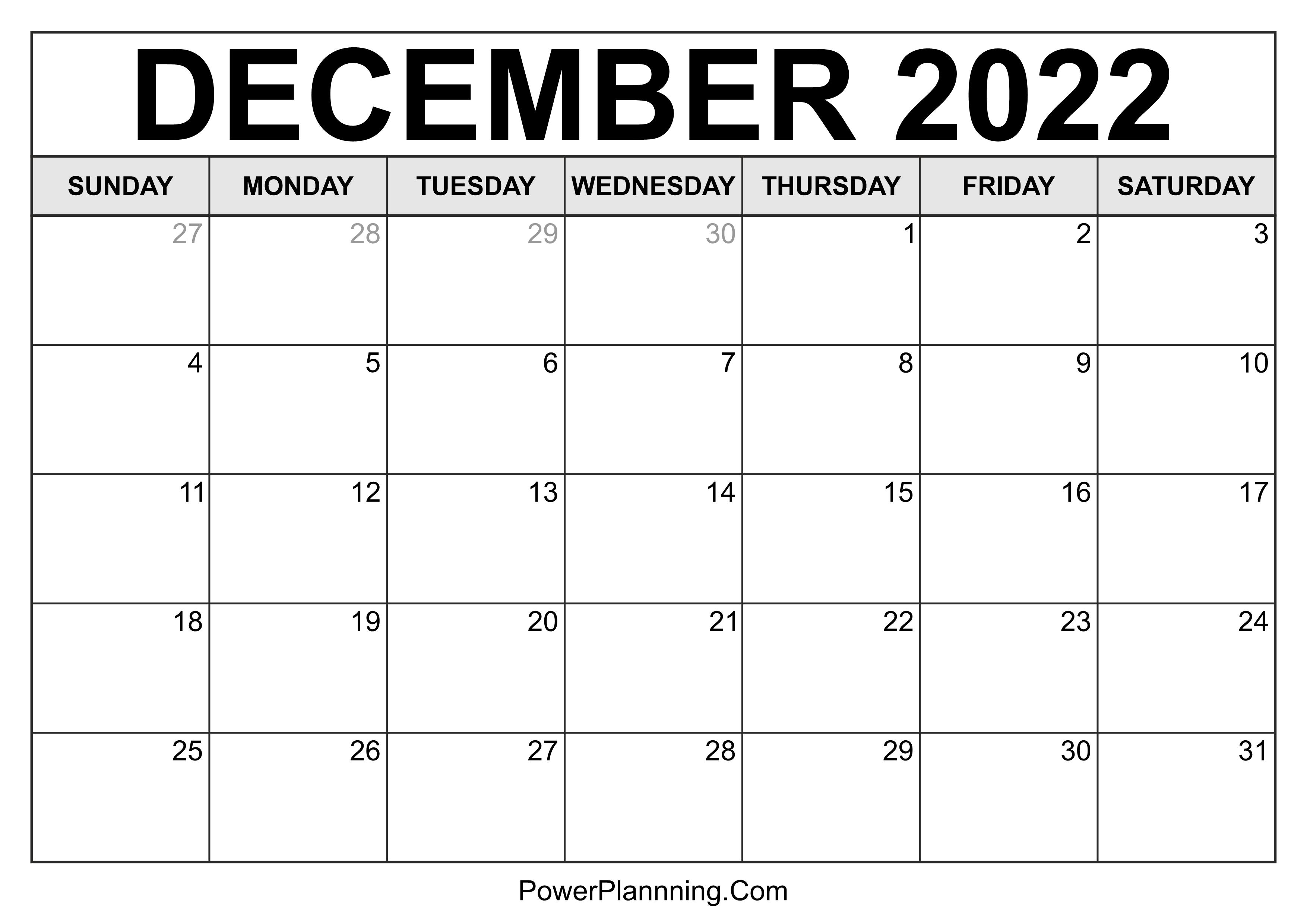 December 2022 Calendar