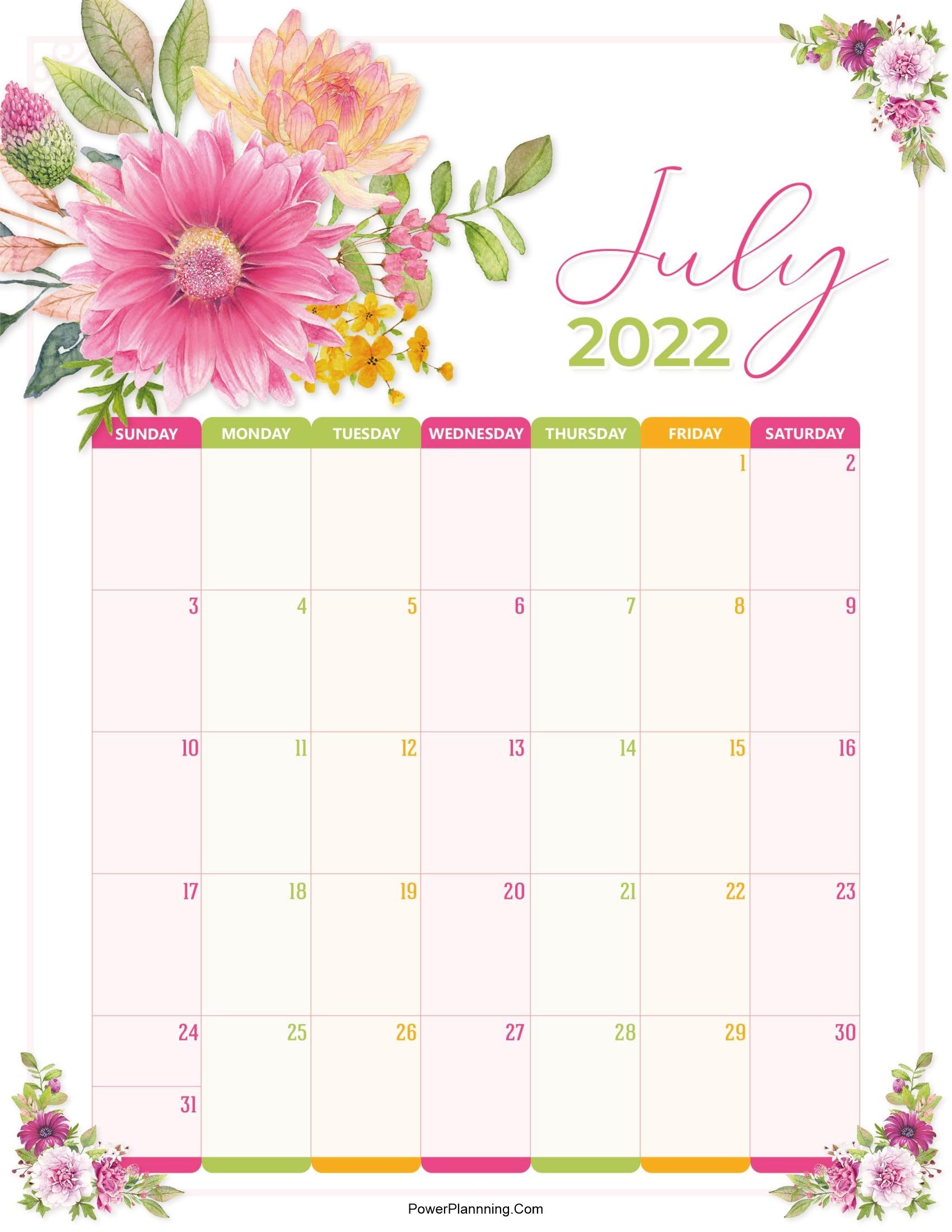 Floral July 2022 Calendar