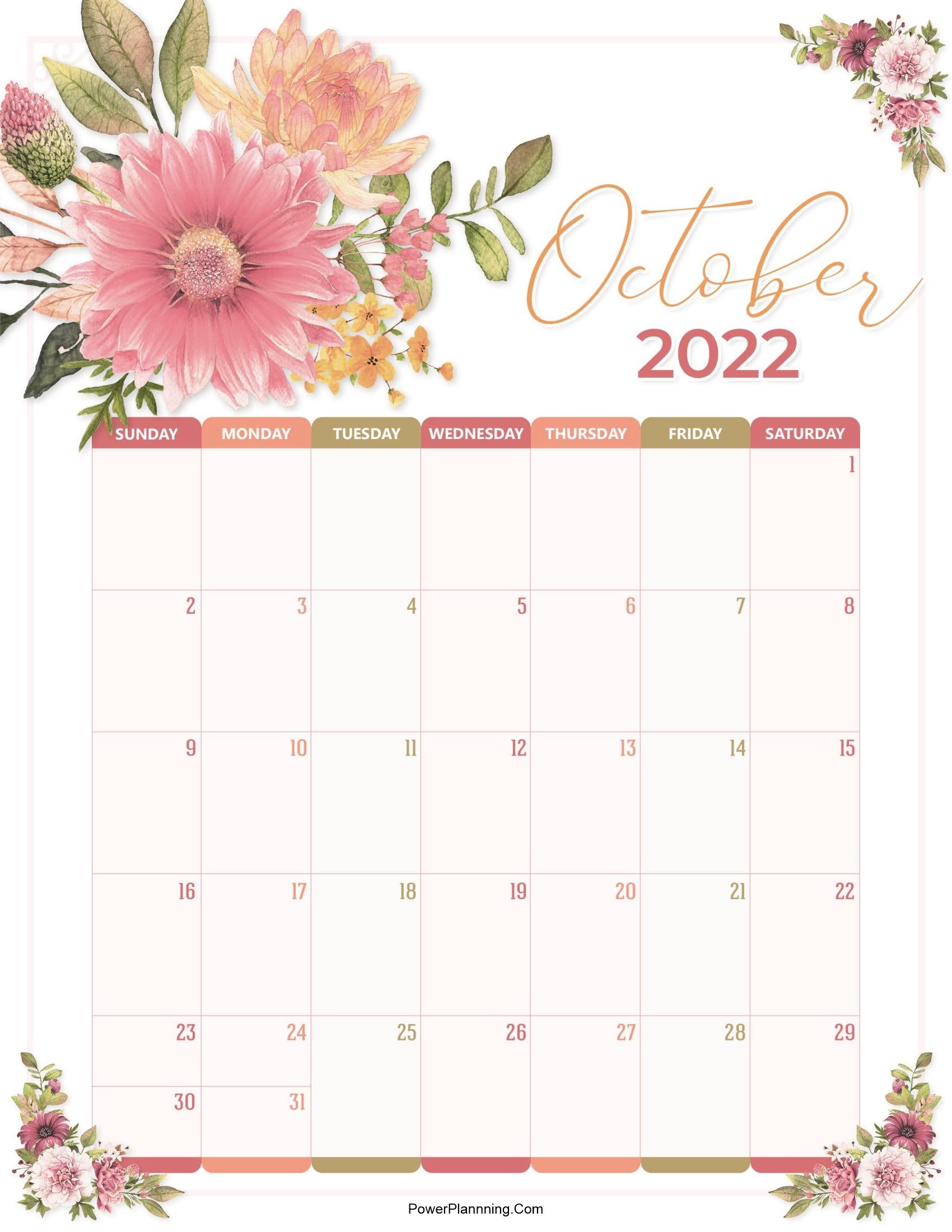 Floral October 2022 Calendar