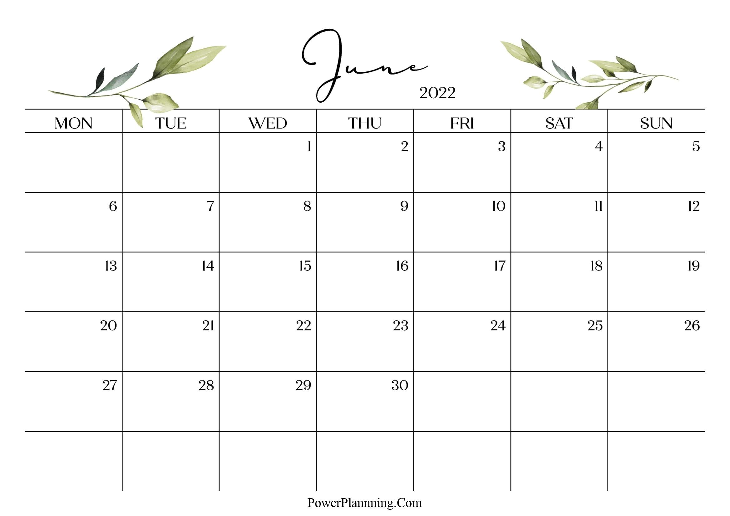June 2022 Cute Calendar