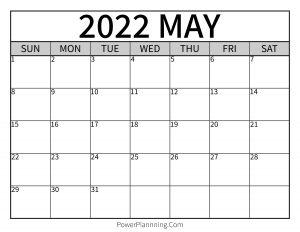 May 2022 Printable Calendar