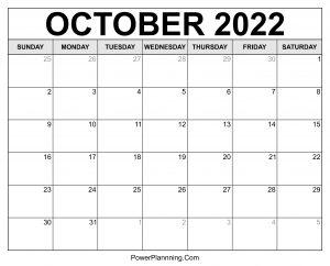 October 2022 Calendar