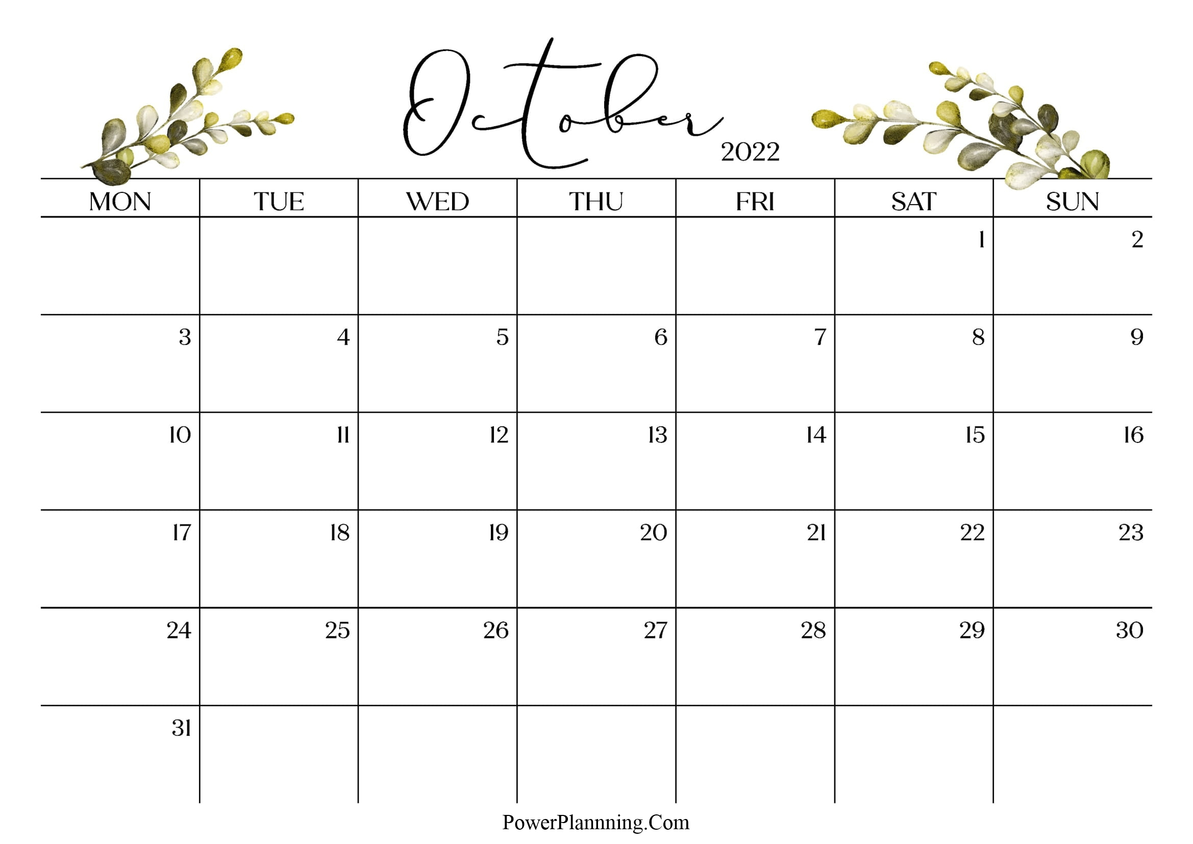 October 2022 Cute Calendar