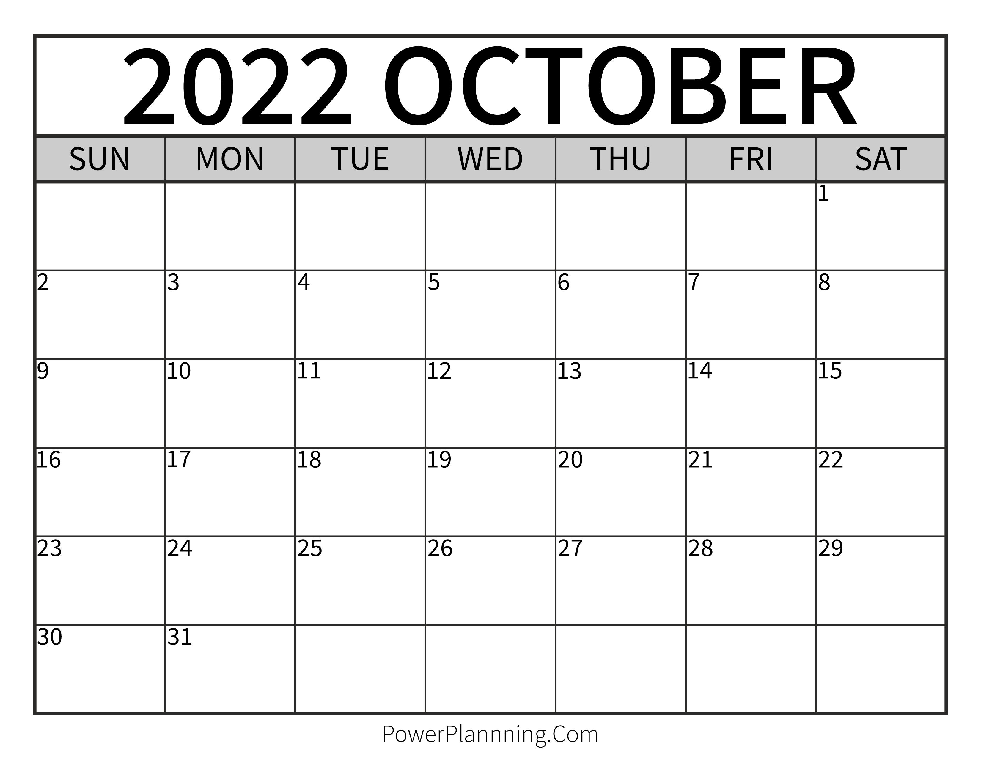 October 2022 Printable Calendar